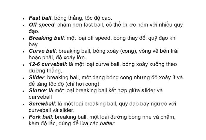 thuật ngữ bóng chày