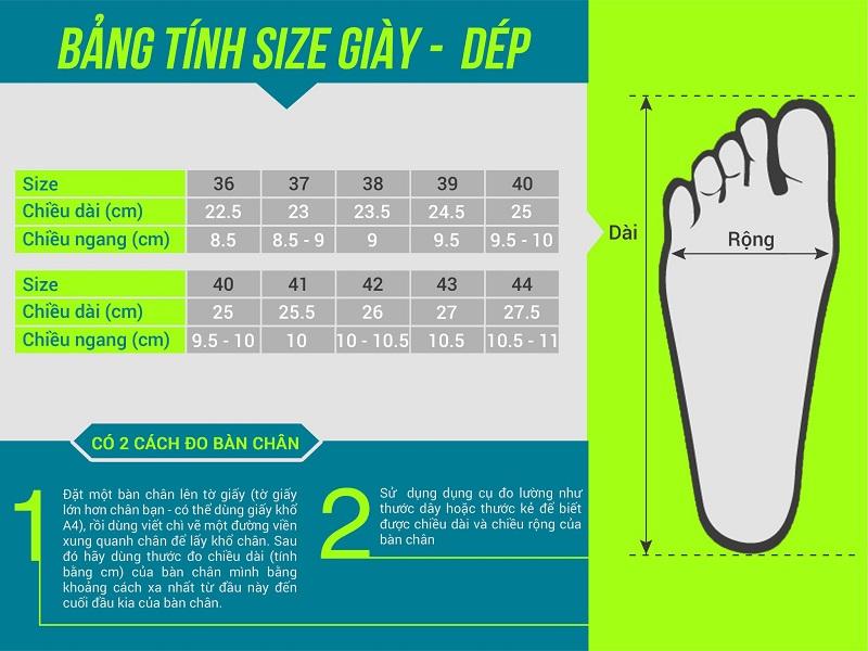 đo size giày bóng chuyền