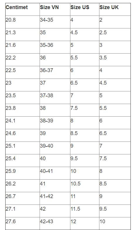 đo size giày tập gym cho nữ