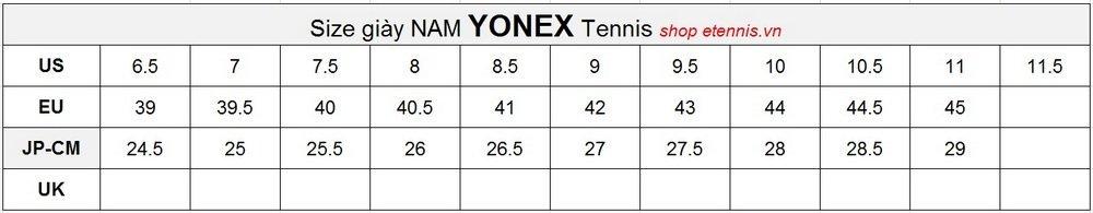 size yonex tennis