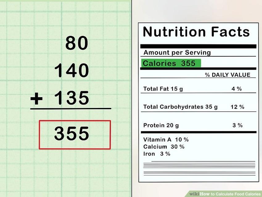 xác định lượng calo có trong thực phẩm